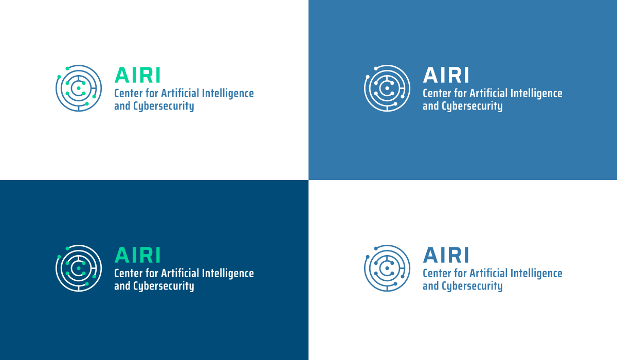 Center for Artificial Intelligence and Cybersecurity logo design - color variants