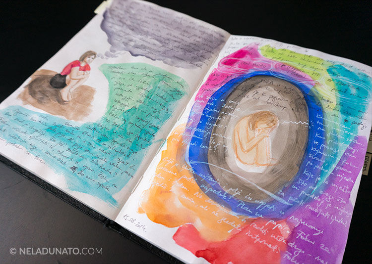 Art journal page of depressive thoughts