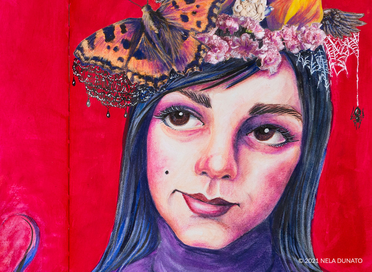 Selfportrait with headdress - detail of art journal page by Nela Dunato