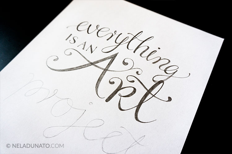 Hand lettering process - pencil sketch