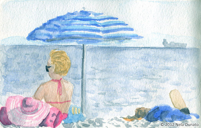 Beach watercolor sketch by Nela Dunato