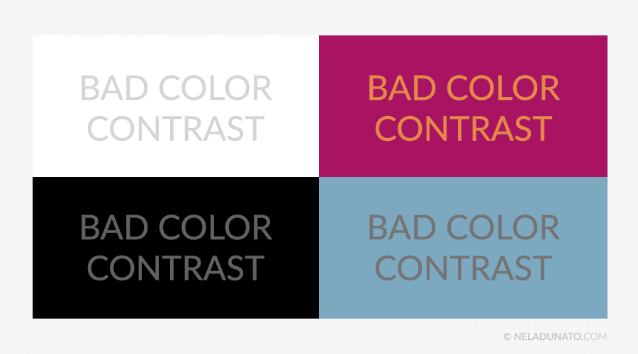 Beginner design mistakes - Poor color contrast