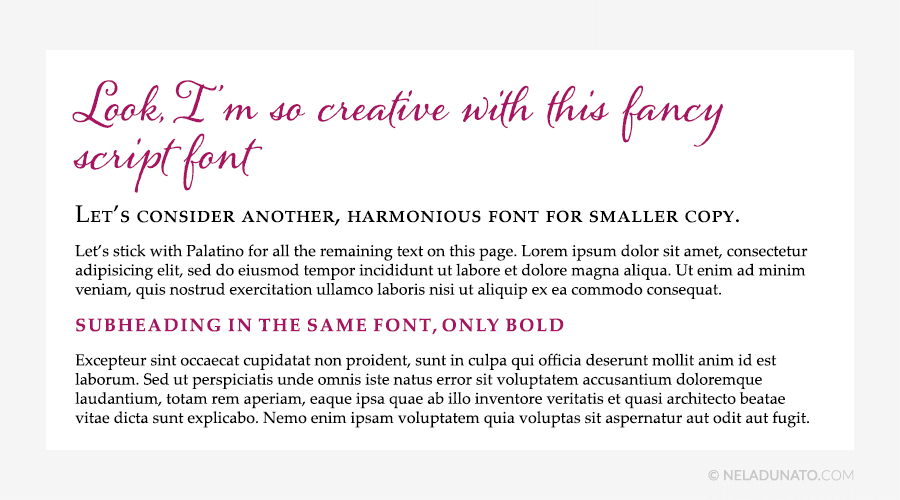 Beginner design mistakes - Two font families at most