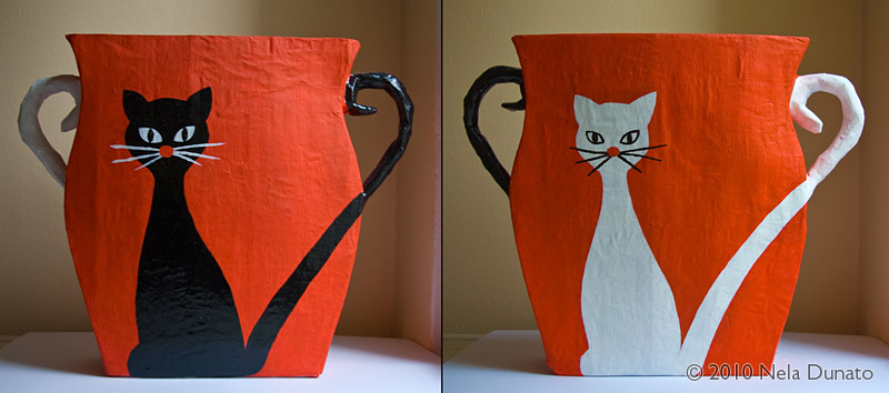 Black cat, white cat bin papier mache