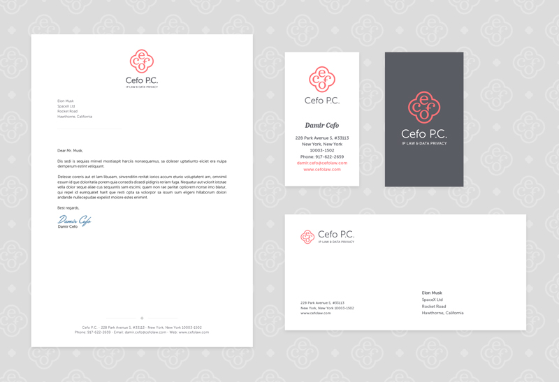 Cefo PC brand identity - stationery