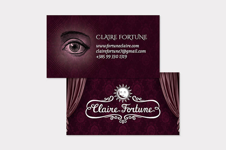 Claire Fortune business card design