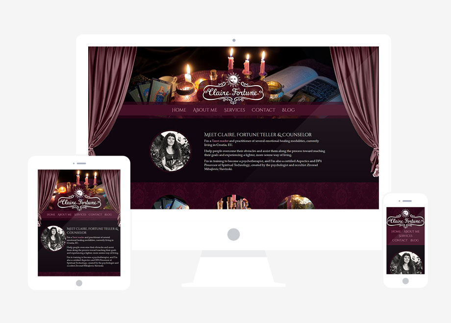 Claire Fortune website responsive