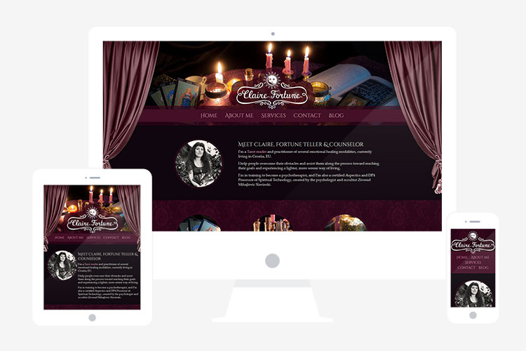 Responsive website design for Claire Fortune