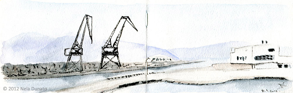Cranes on the breakwater sketch by Nela Dunato