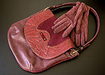 Burgundy purse and gloves