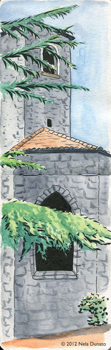 Dominican monastery in Rijeka watercolor and ink sketch by Nela Dunato