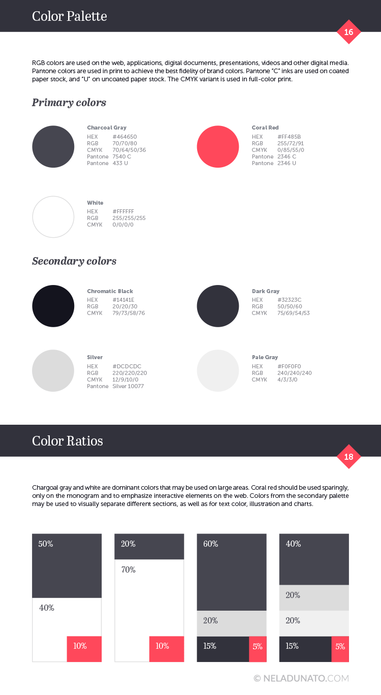 Elegant brand identity palette with an accent color