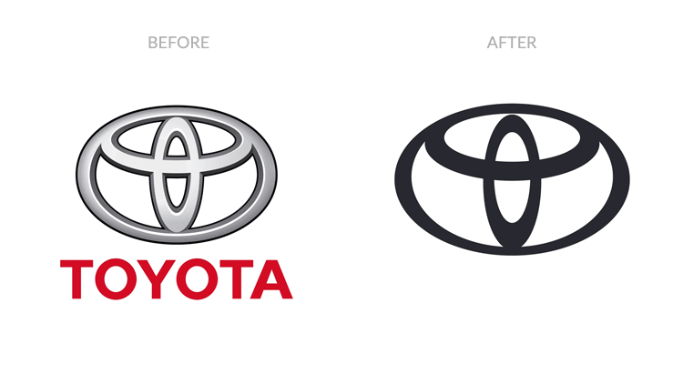 Old Toyota logo with a 3D effect and the new simplified logo design