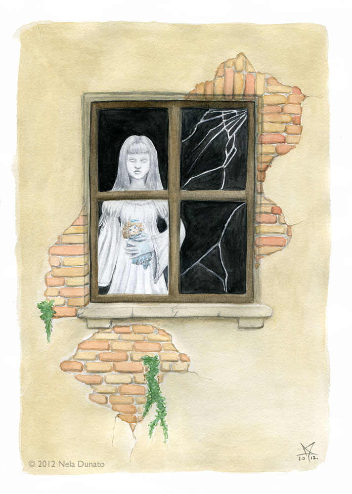 Evelyn the lonely ghost, watercolor illustration by Nela Dunato