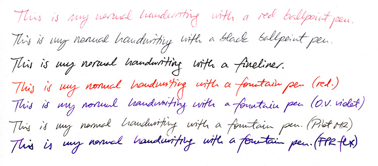 Fountain pen vs. ballpoint pen handwriting comparison