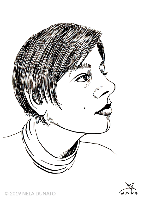Flex fountain pen portrait sketch