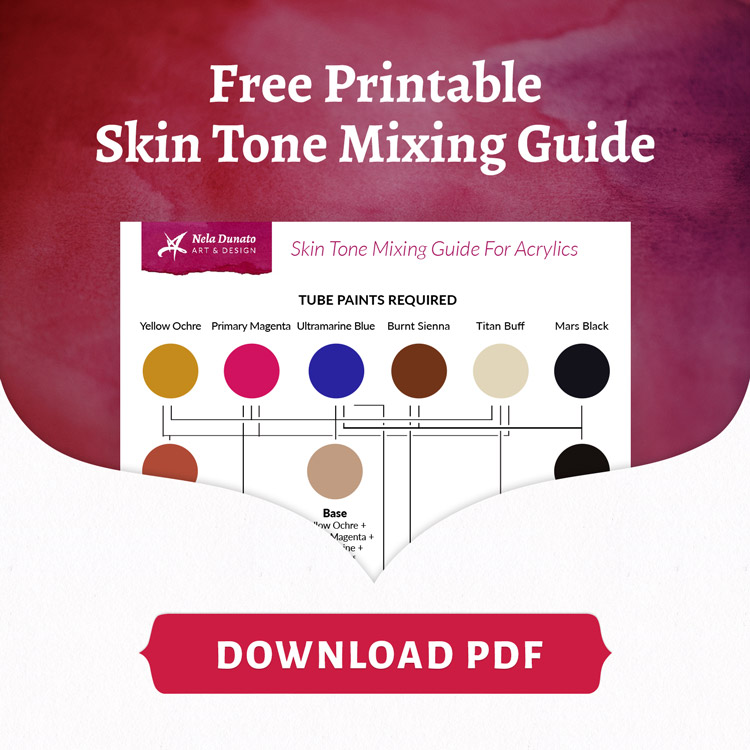 How I paint skin tones in acrylic + Free printable PDF mixing guide