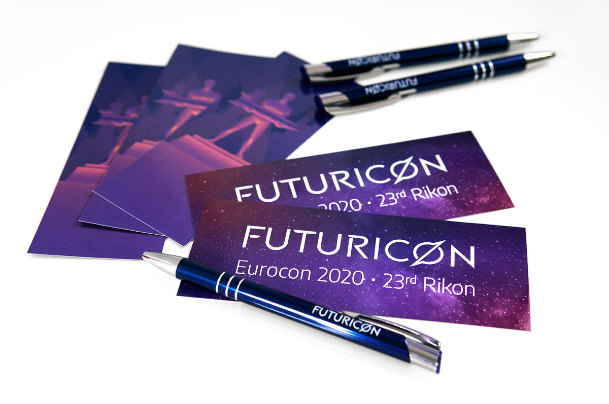 Futuricon Brand Identity - Bookmarks and pens