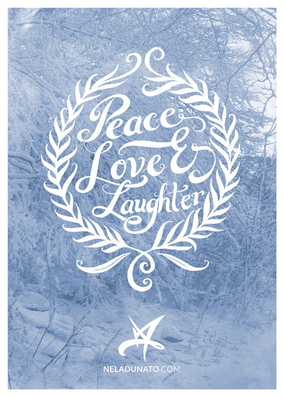 Peace Love Laughter hand-lettered holiday greeting card