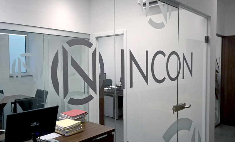Incon brand identity glass door decals