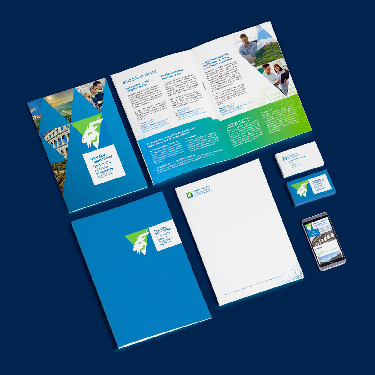 Istarsko veleuciliste brand identity - Letterhead, business card, folder and brochure design