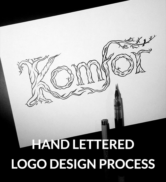 Komfor hand lettered logo design process