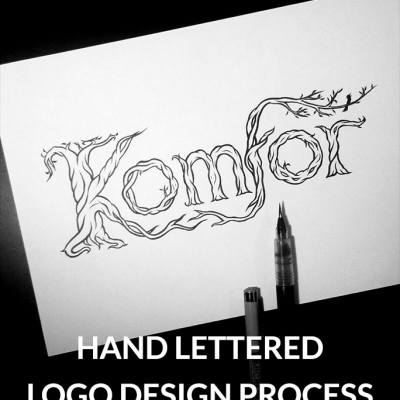 Komfor band hand lettered logo design process