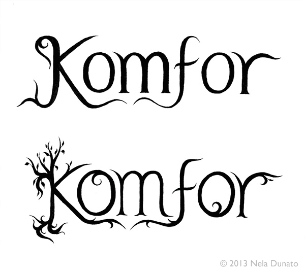 Komfor band logo lettering - first round