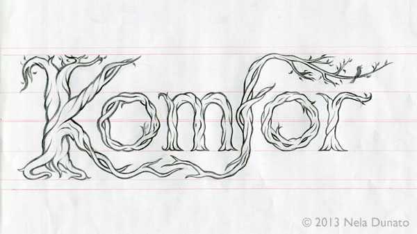 Komfor band logo lettering - final sketch