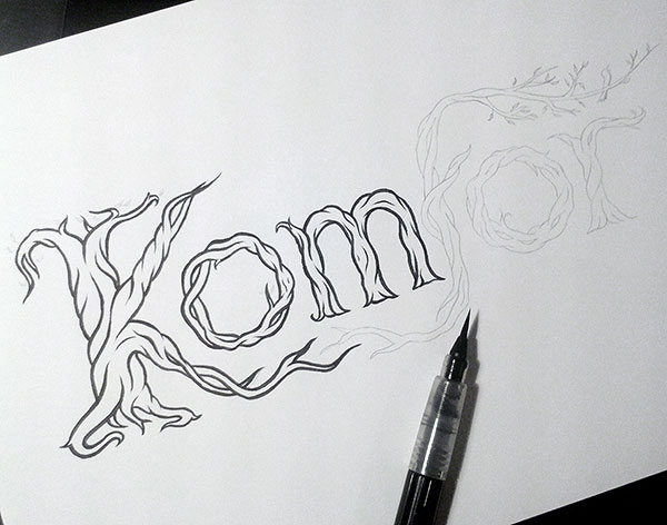 Hand lettering logo process - inking with a brush pen