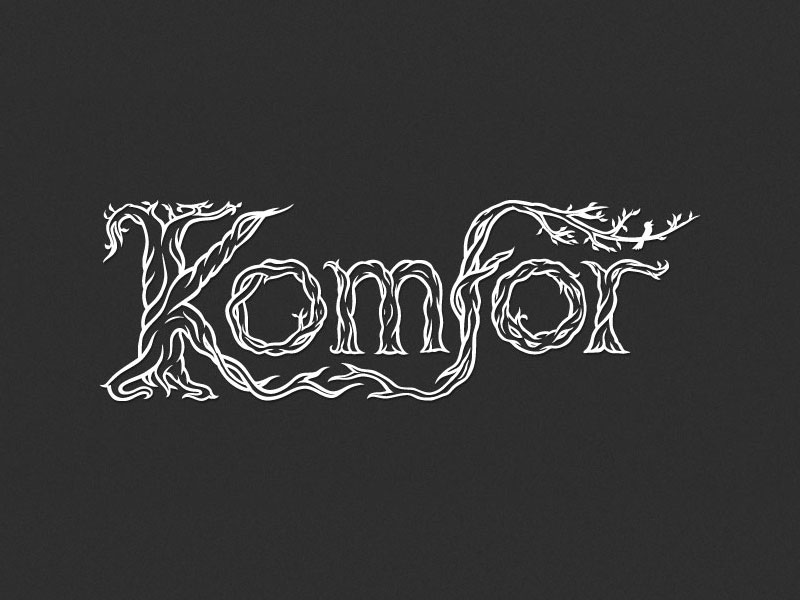 Komfor hand lettered band logo design