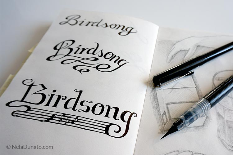 Lettering sketches Birdsong
