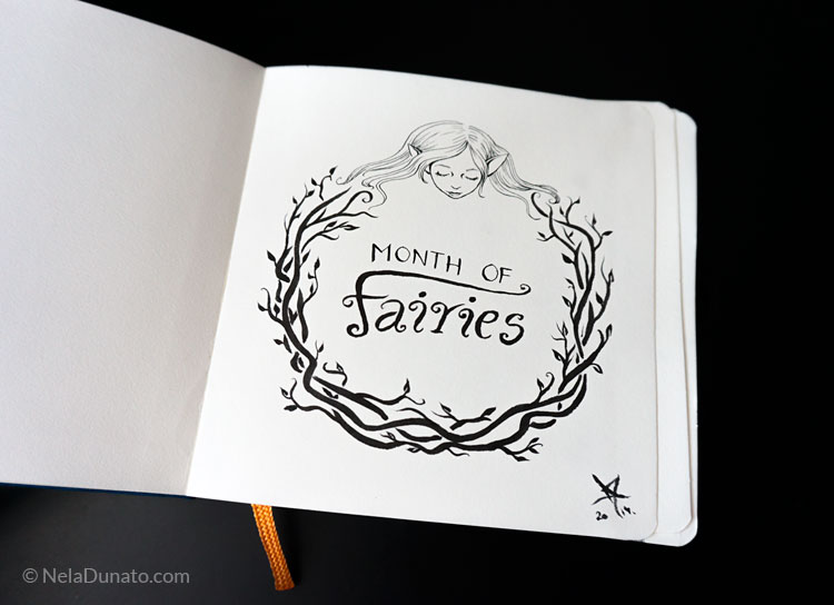 Month of Fairies sketchbook lettering