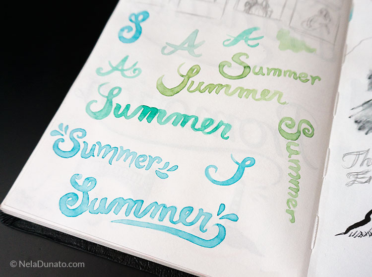 Watercolor lettering Summer