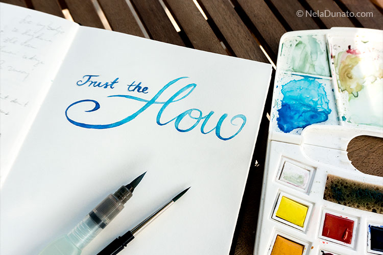 Watercolor lettering Trust the flow
