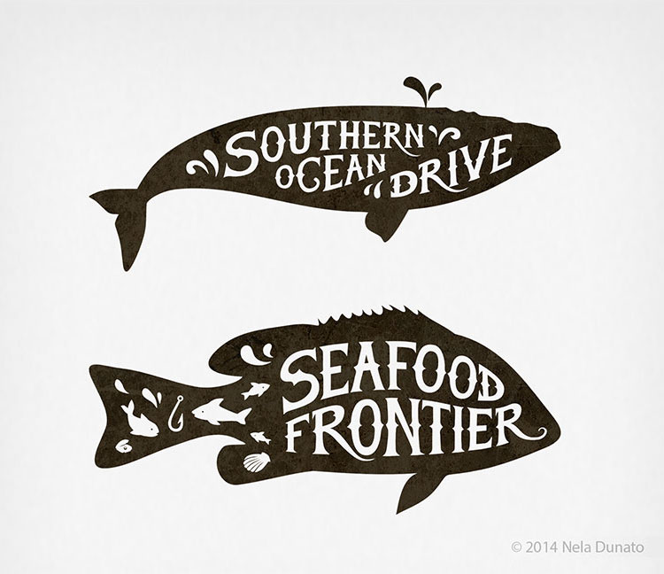 Fish-themed hand lettered logos