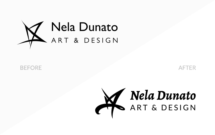 Nela Dunato Art & Design logo design - before and after