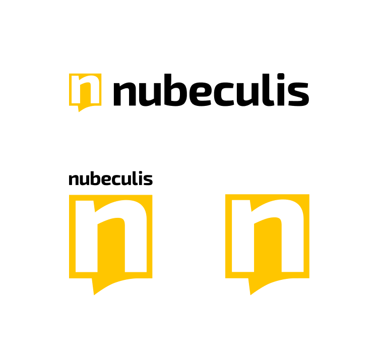 Nubeculis logo design - horizontal logo, vertical logo and symbol