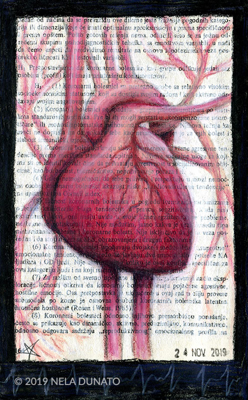 Anatomic heart drawing with water-soluble pastels over a page from a psychiatry book