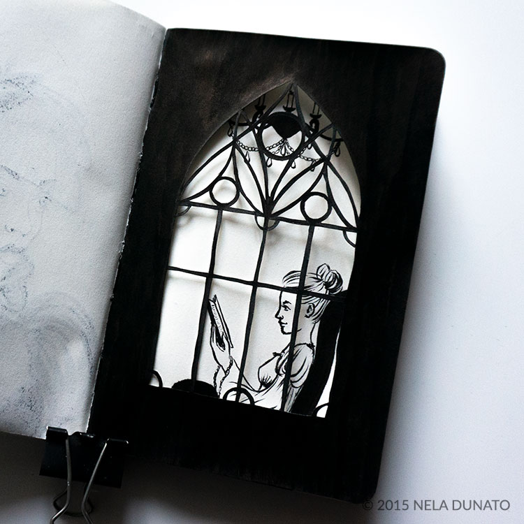 Paper-cut window with a woman reading a book in a sketchbook