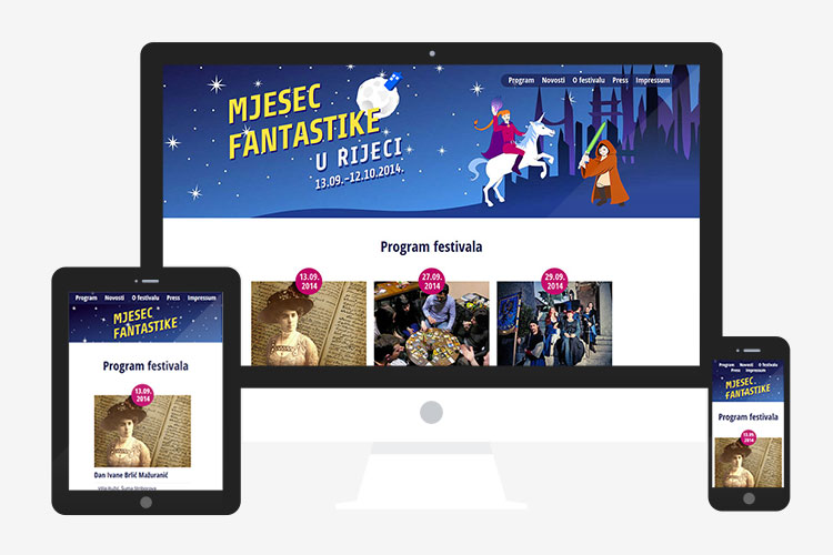 Mjesec Fantastike responsive WordPress website design