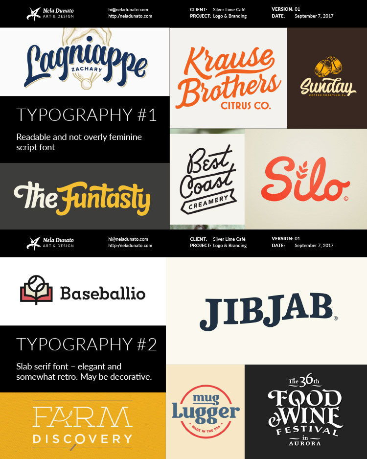 Mood board: Typography direction examples