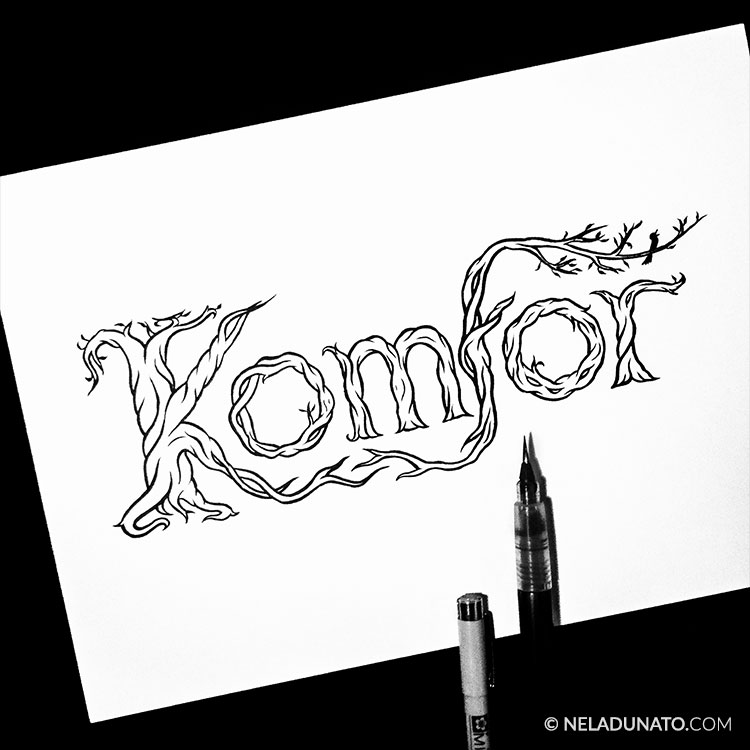 Traditional hand-lettering with an organic tree motif for a music band logo