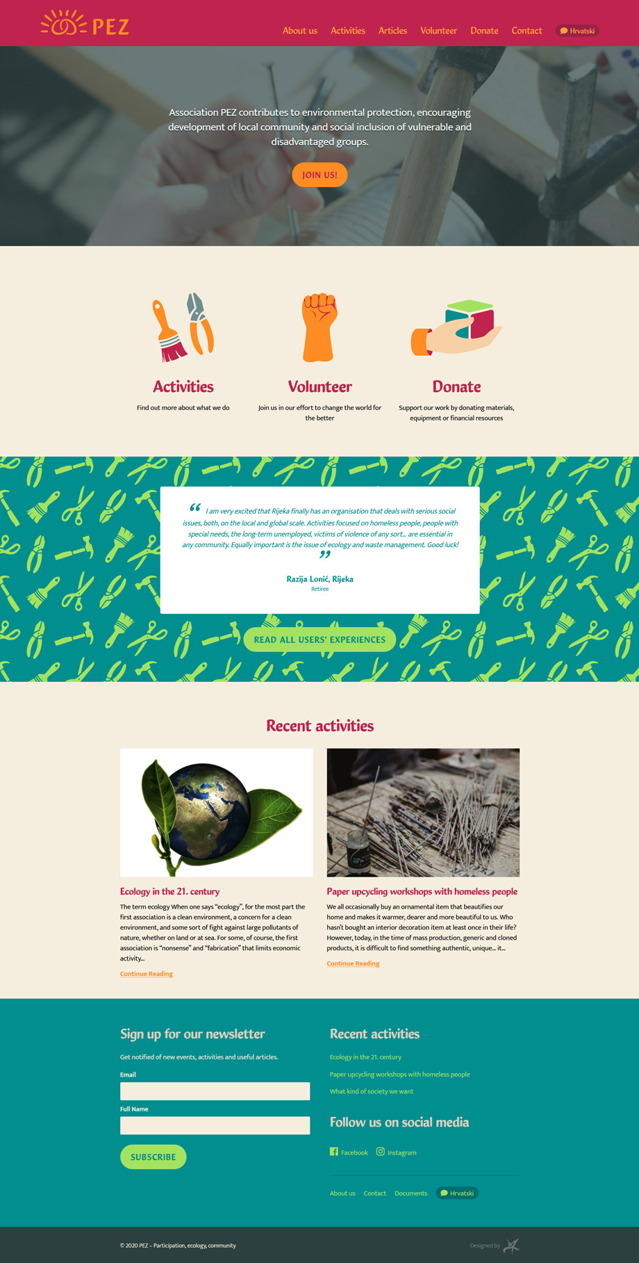 PEZ nonprofit association WordPress website design