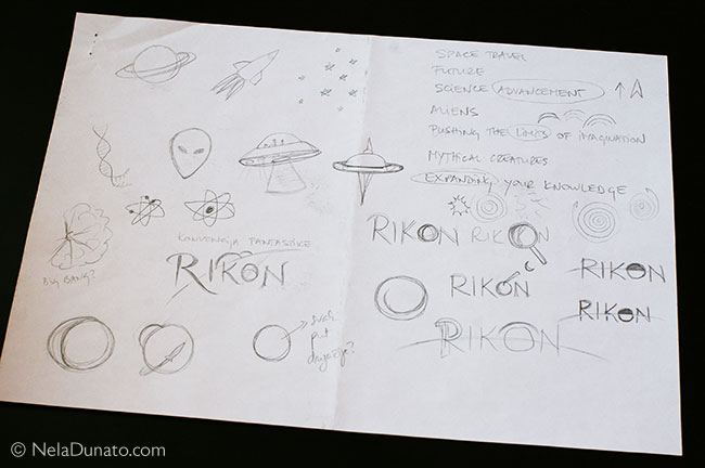 Rikon logo sketches - initial themes and symbols