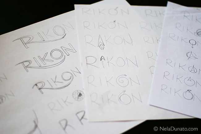 Rikon logo sketches - explorations of letter forms