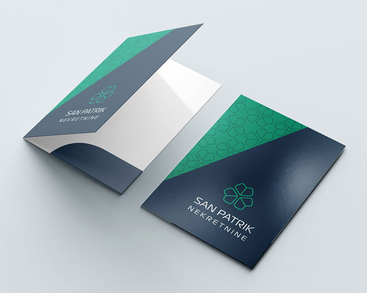 Printed folder graphic design for a real estate agency