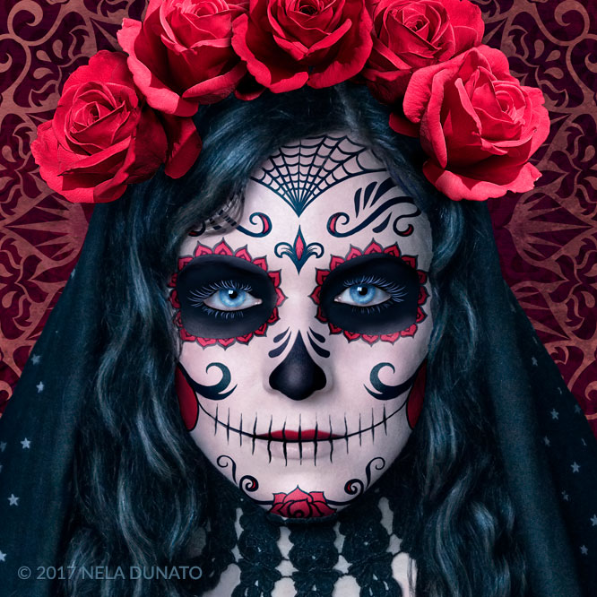 Santa Muerte face makeup detail by Nela Dunato