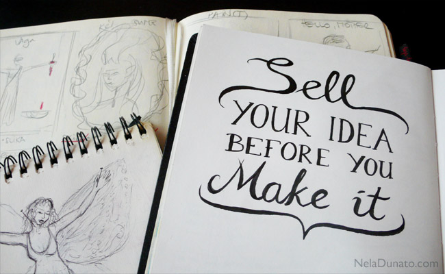 Sell your idea before you make it - sketchbook lettering