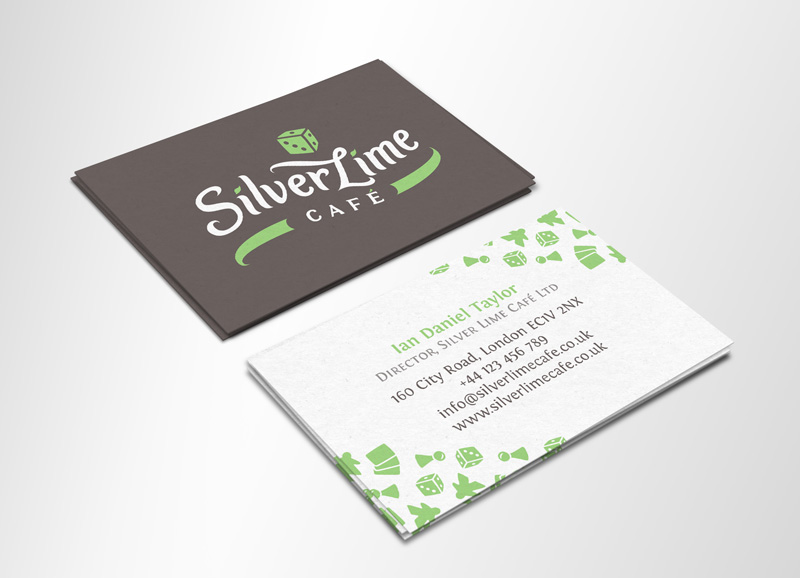 Silver Lime Cafe visual brand identity - business card design